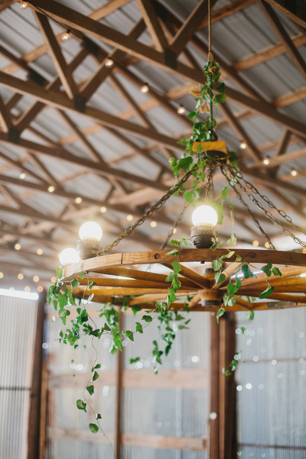 The iconic wagon wheel chandelier at Summerfield.